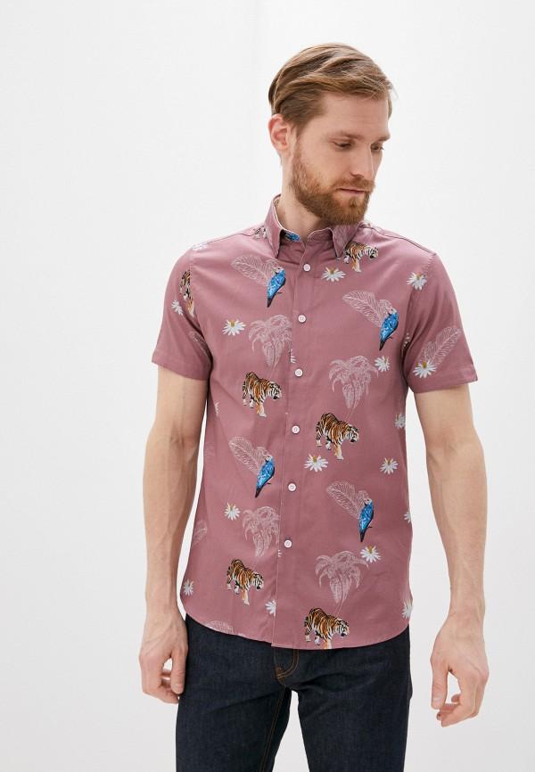 мужская рубашка с коротким рукавом ted baker london, фиолетовая