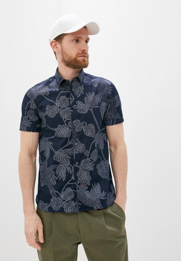 мужская рубашка с коротким рукавом ted baker london, синяя