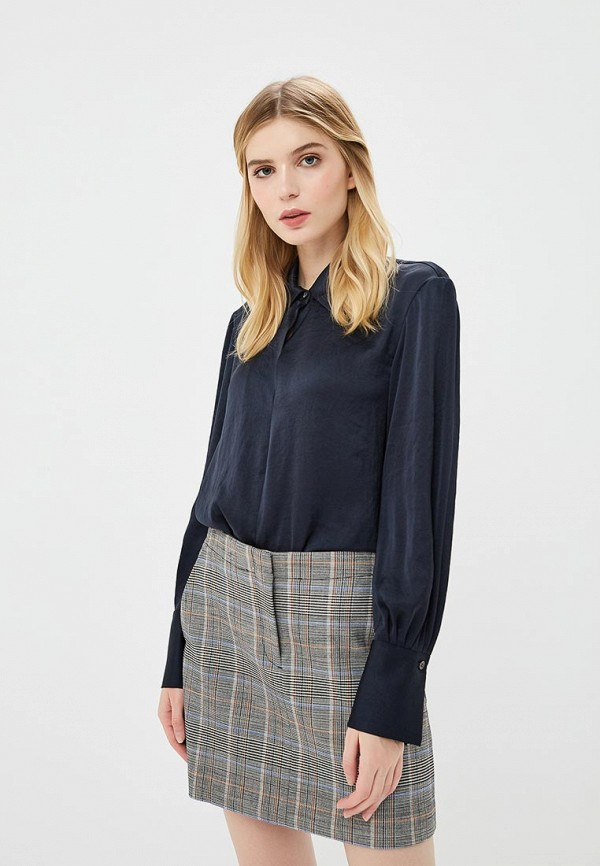 женская блузка theory, синяя