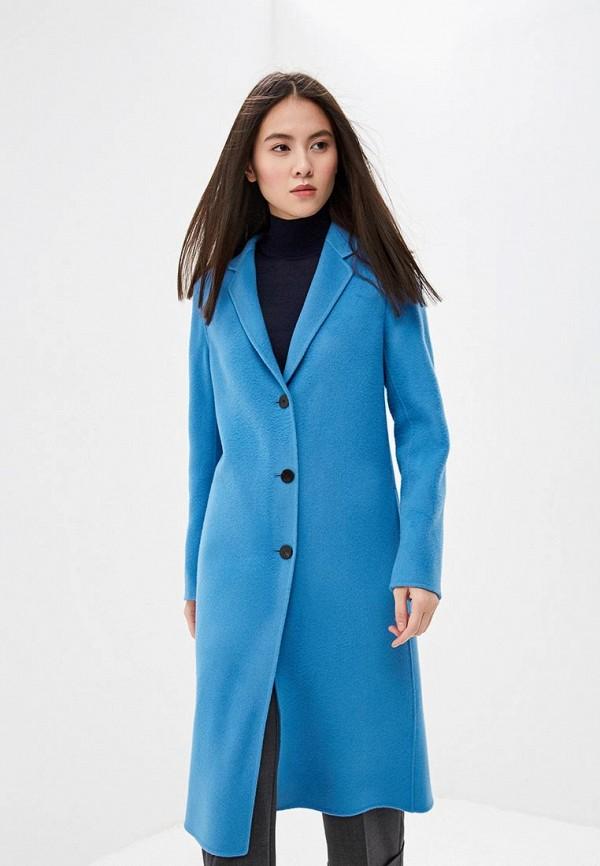 женское пальто theory, голубое