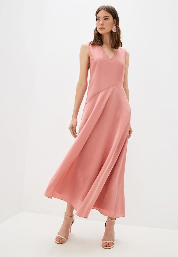 женское вечерние платье theory, розовое