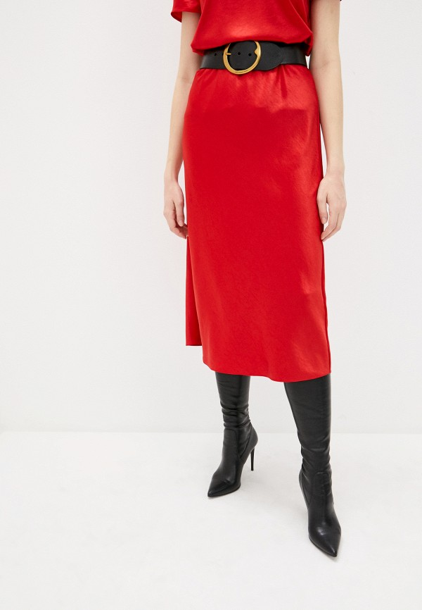 женская прямые юбка theory, красная