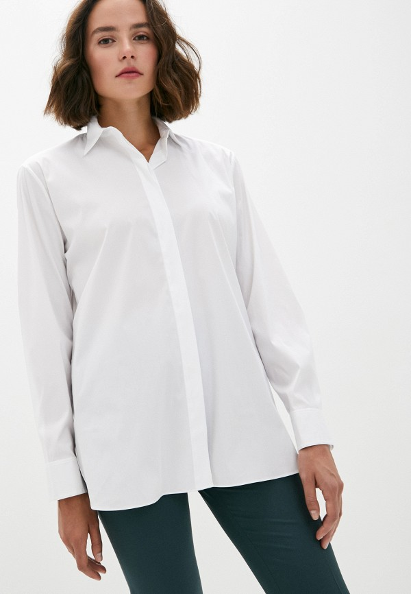 женская рубашка с длинным рукавом theory, белая