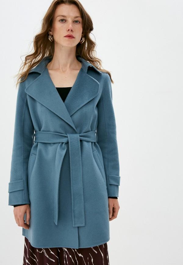 женское пальто theory, бирюзовое
