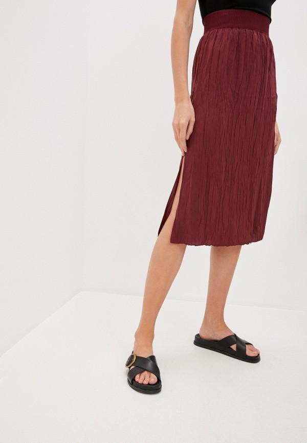 женская прямые юбка theory, бордовая