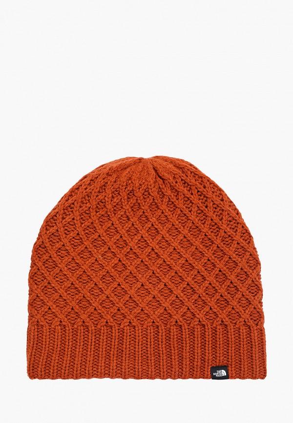 женская шапка the north face, коричневая