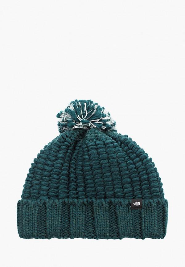 женская шапка the north face, зеленая