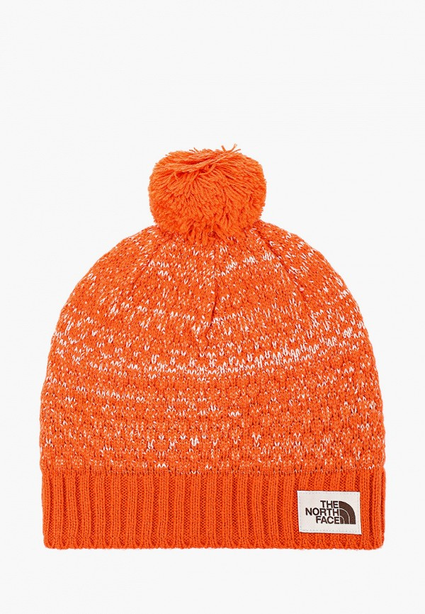женская шапка the north face, оранжевая