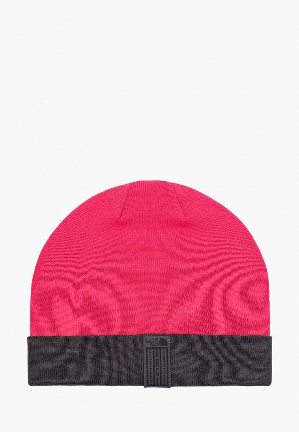 женская шапка the north face, розовая
