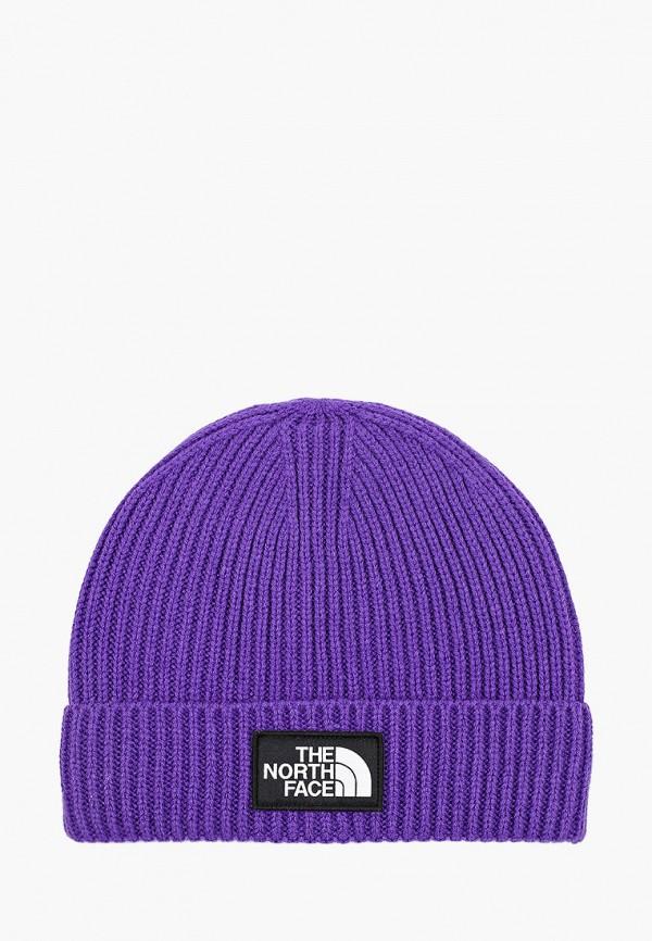 женская шапка the north face, фиолетовая