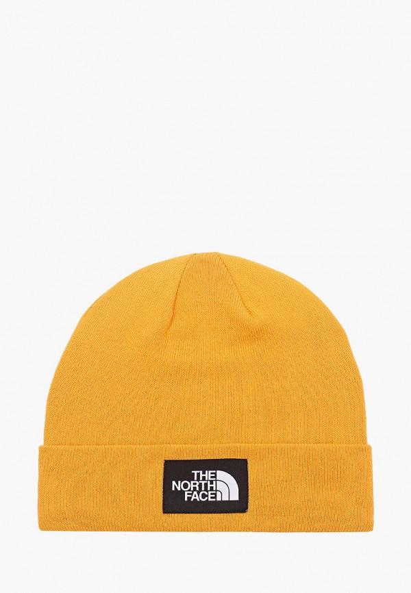 женская шапка the north face, желтая