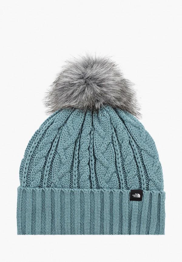 женская шапка the north face, бирюзовая