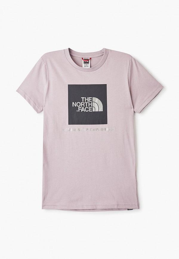 футболка the north face для девочки, фиолетовая