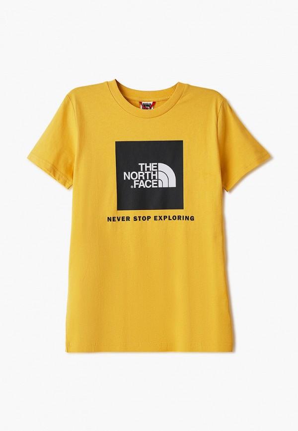 футболка the north face малыши, желтая