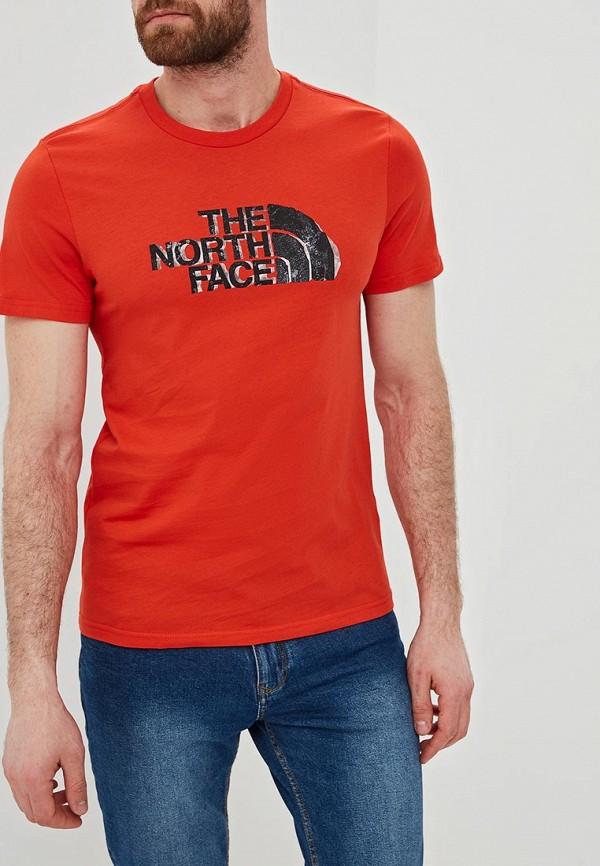 мужская спортивные футболка the north face, красная