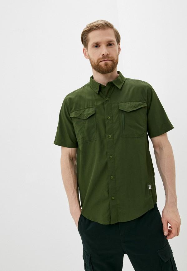 мужская рубашка с коротким рукавом the north face, зеленая