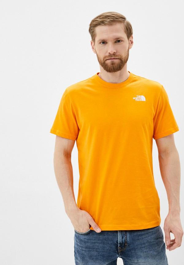 мужская футболка с коротким рукавом the north face, желтая