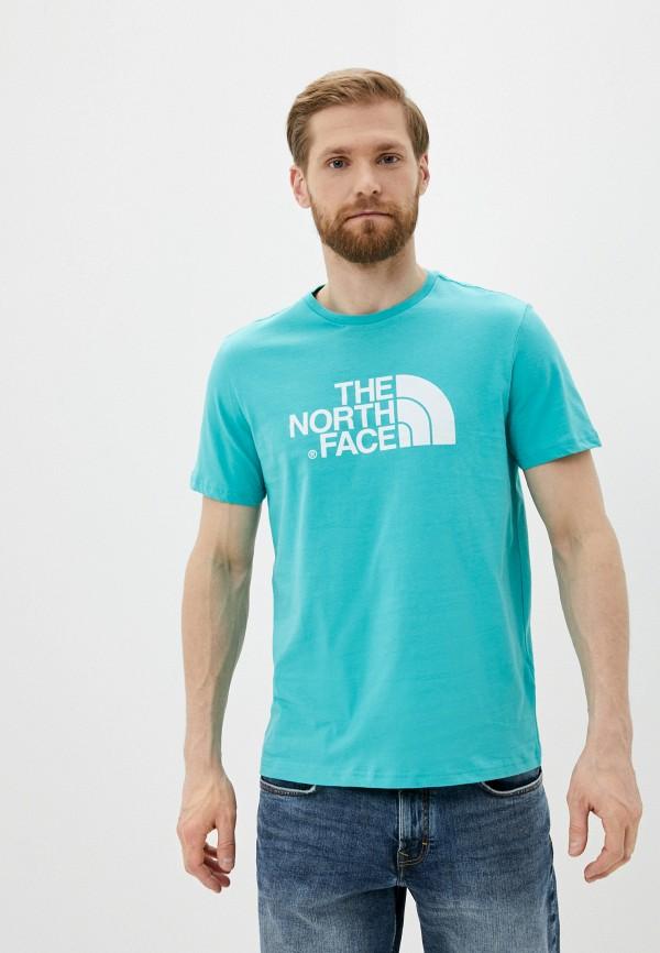 мужская футболка с коротким рукавом the north face, бирюзовая