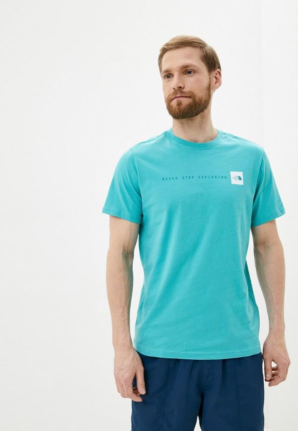 мужская спортивные футболка the north face, голубая