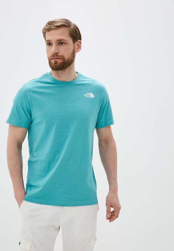 мужская футболка с коротким рукавом the north face, голубая