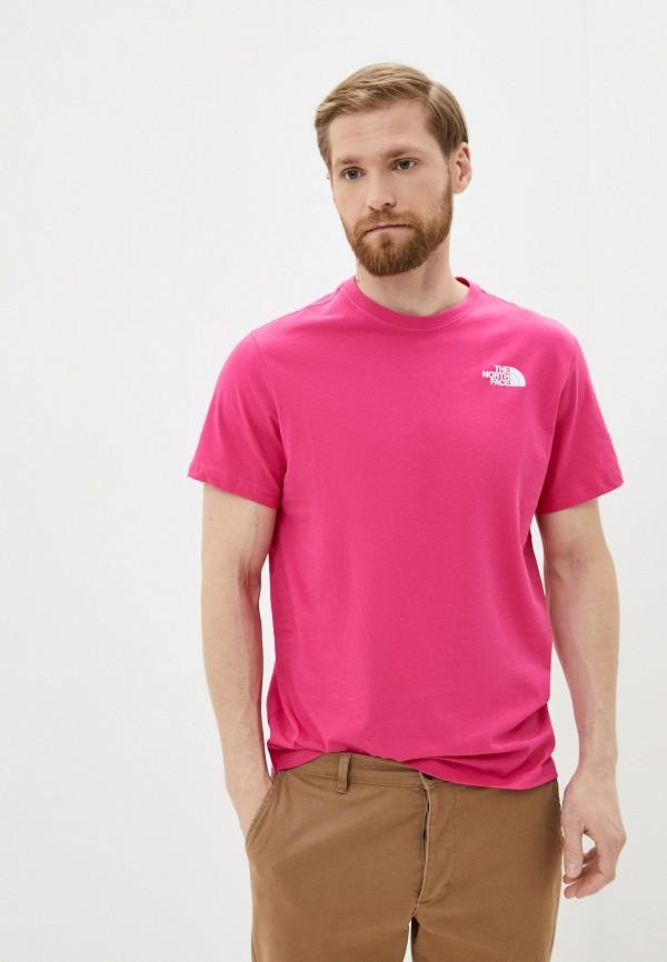 мужская футболка с коротким рукавом the north face, розовая