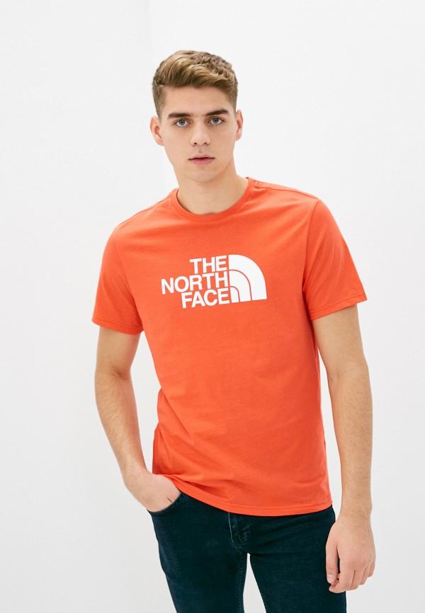 мужская спортивные футболка the north face, оранжевая
