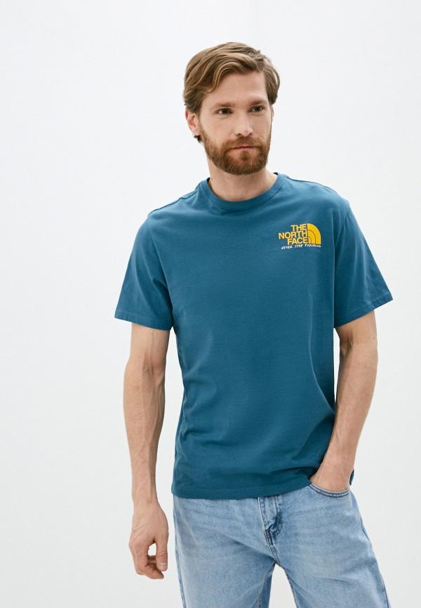 мужская спортивные футболка the north face, бирюзовая