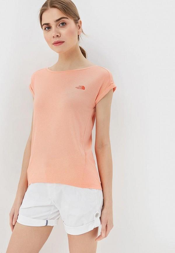 женская спортивные футболка the north face, розовая