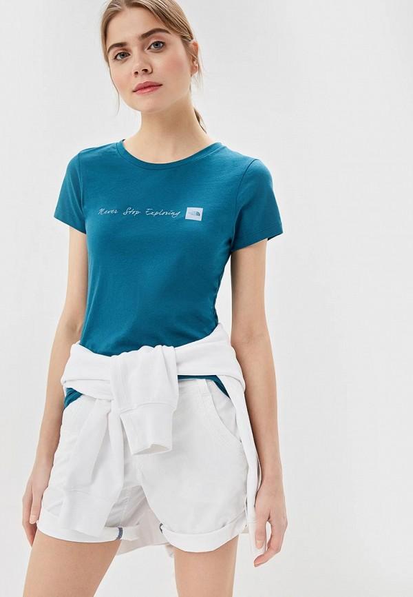 женская спортивные футболка the north face, бирюзовая