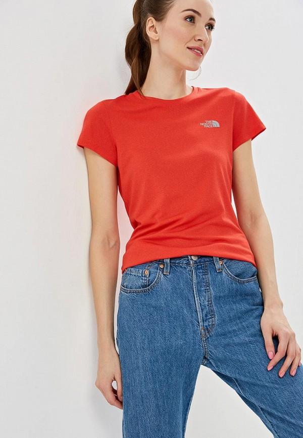 женская спортивные футболка the north face, красная