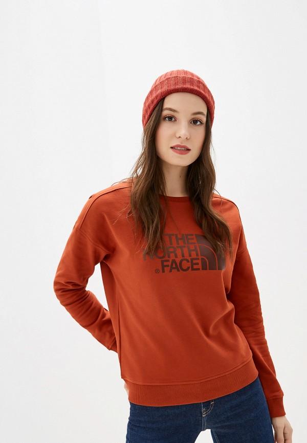 женский свитшот the north face, оранжевый
