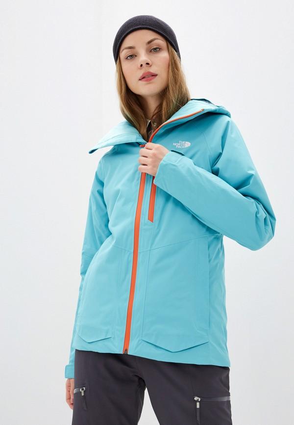 женская куртка the north face, голубая
