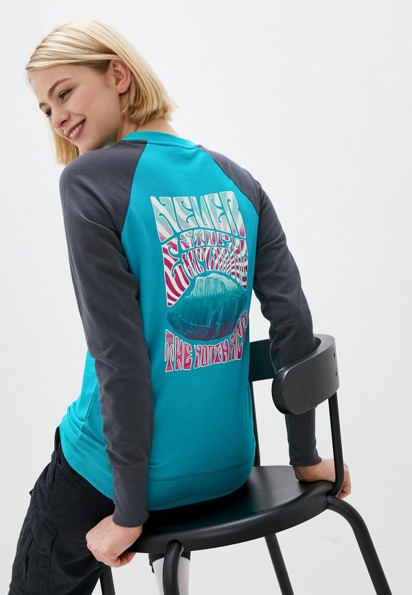 женский спортивные свитшот the north face, голубой