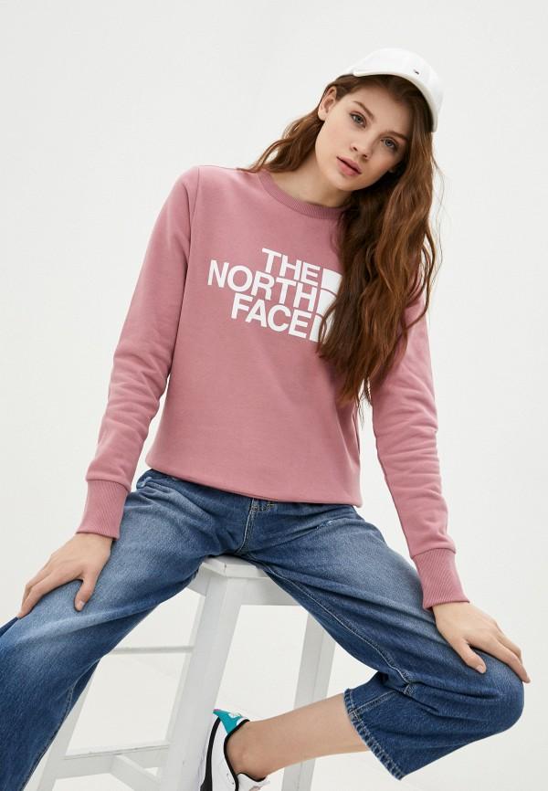 женский свитшот the north face, розовый