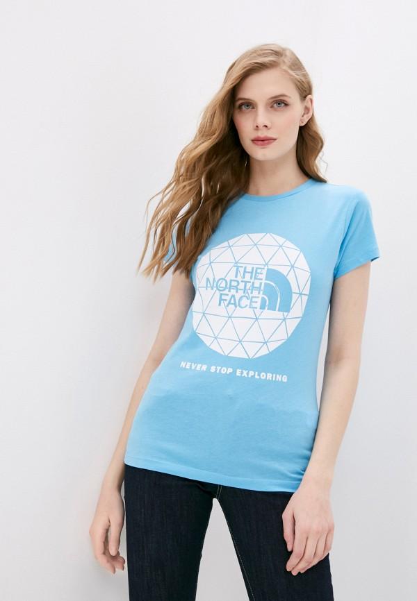 женская спортивные футболка the north face, голубая