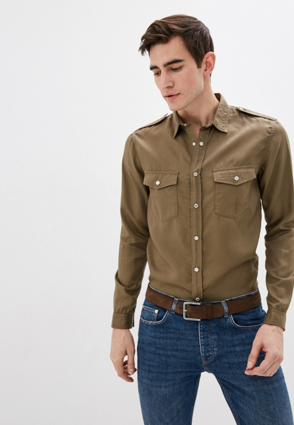 мужская рубашка с длинным рукавом the kooples, хаки