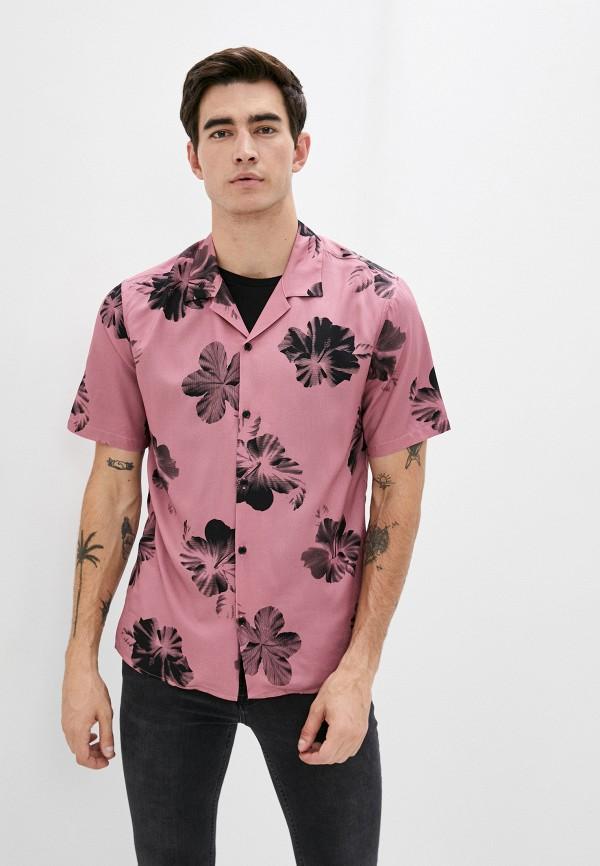 мужская рубашка с коротким рукавом the kooples, розовая