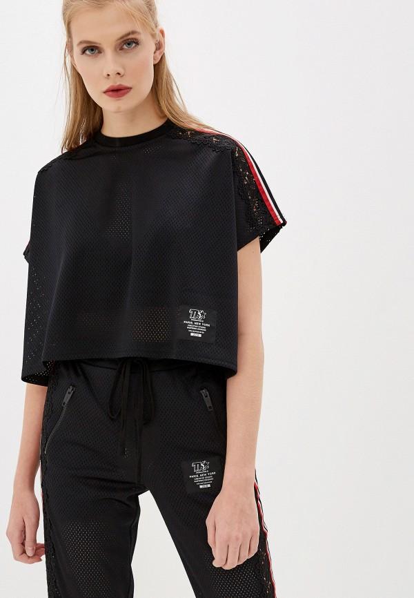 женская футболка the kooples sport, черная