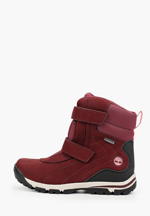 ботинки timberland для девочки, бордовые