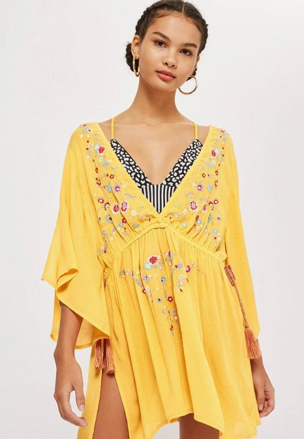 Купить Платье пляжное Topshop, TO029EWBOQO6, желтый, Осень-зима 2018/2019