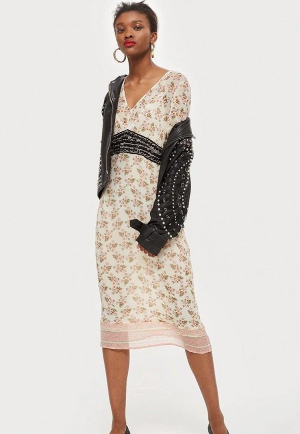 Купить Платье Topshop, TO029EWBSAY2, бежевый, Осень-зима 2018/2019