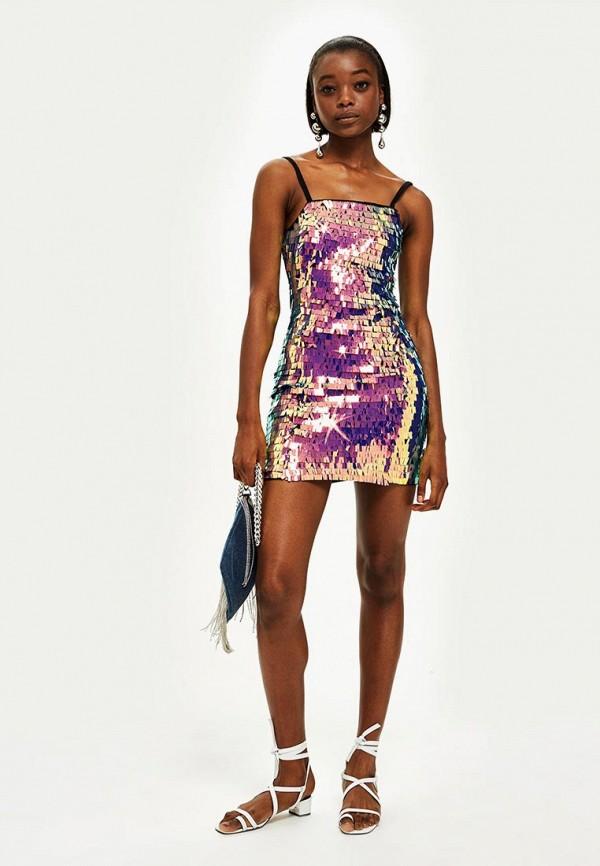 Фото 2 - женское вечернее платье Topshop разноцветного цвета