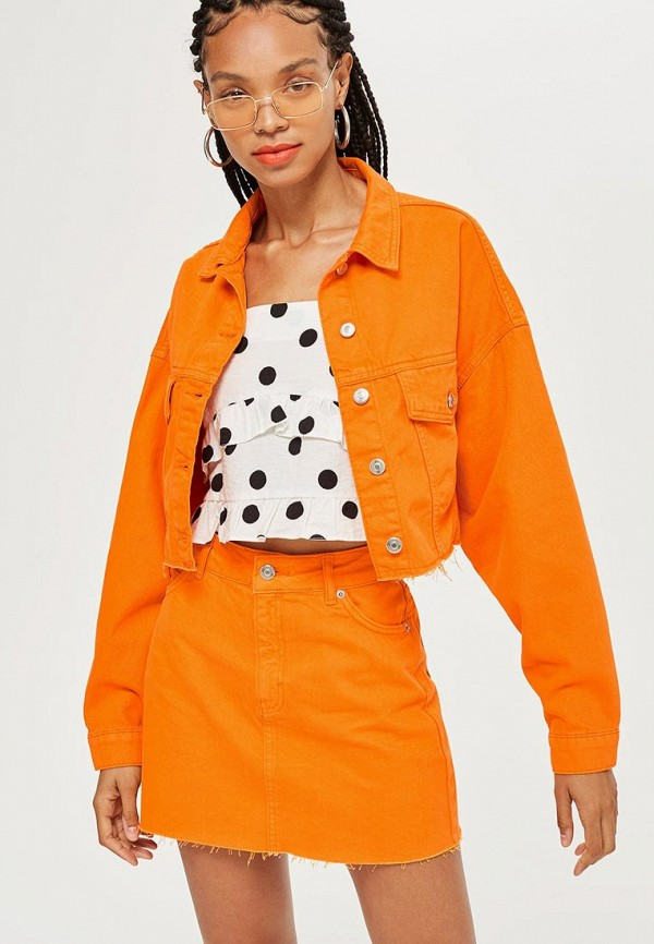 Купить Куртка джинсовая Topshop, to029ewbvlx1, оранжевый, Осень-зима 2018/2019