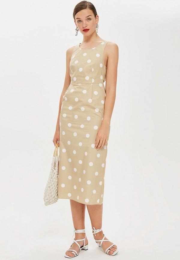 Купить Платье Topshop, TO029EWBZGD8, бежевый, Осень-зима 2018/2019