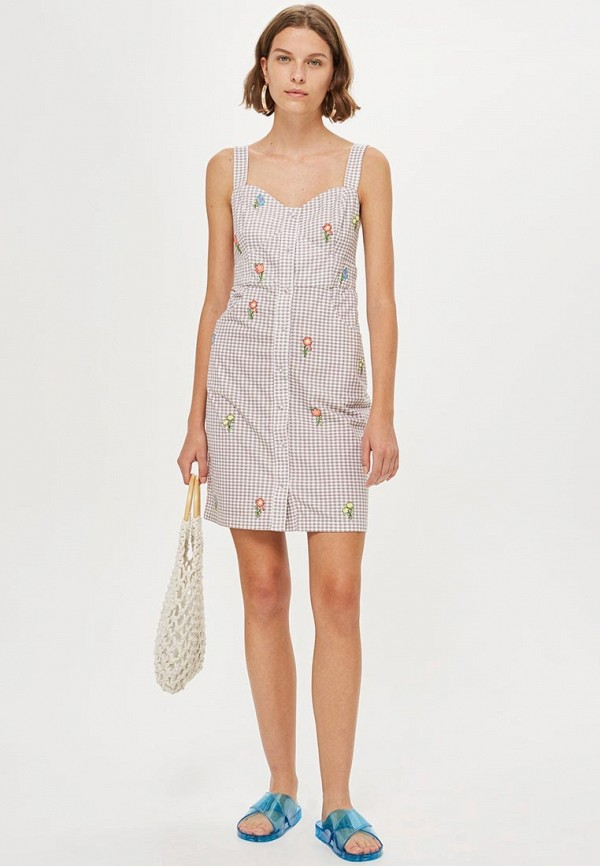 Платье Topshop, TO029EWCEVH2, бежевый, Осень-зима 2018/2019  - купить со скидкой