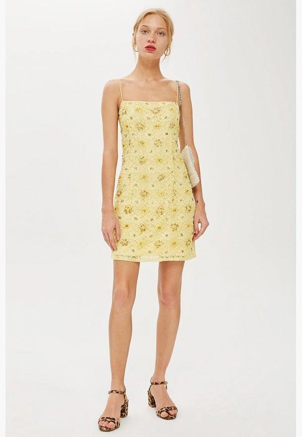 Купить Платье Topshop, TO029EWCFRI5, желтый, Осень-зима 2018/2019
