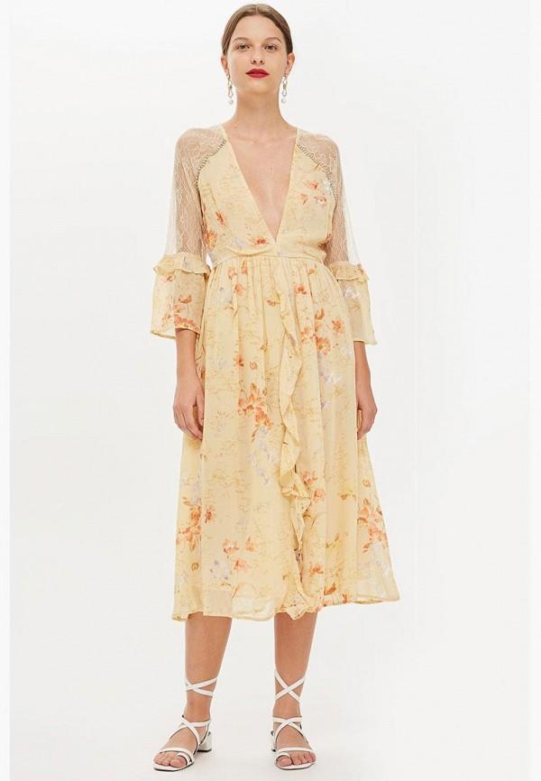 Купить Платье Topshop, TO029EWCIMO8, бежевый, Осень-зима 2018/2019