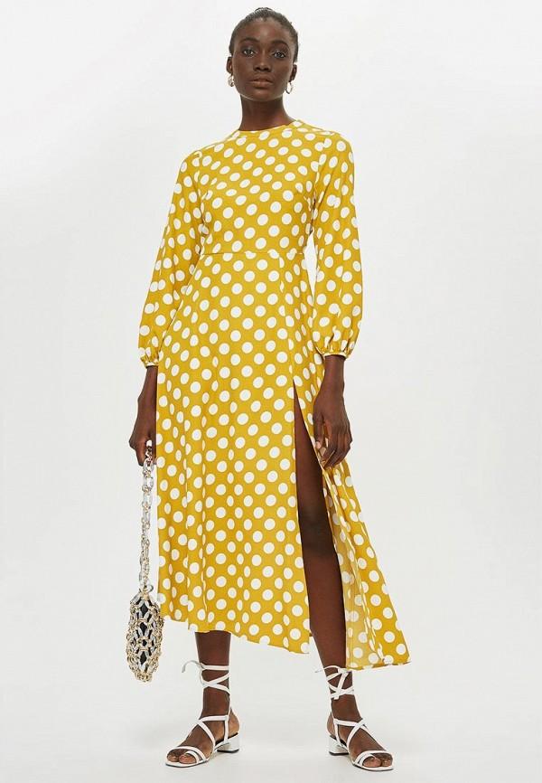Купить Платье Topshop, TO029EWCLHL7, желтый, Осень-зима 2018/2019
