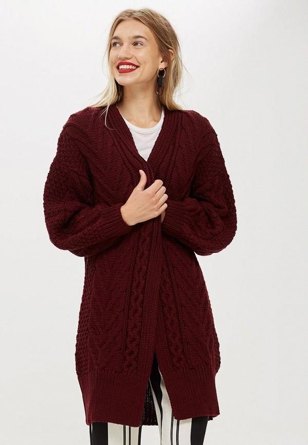 Купить Кардиган Topshop, TO029EWCMPP1, бордовый, Осень-зима 2018/2019