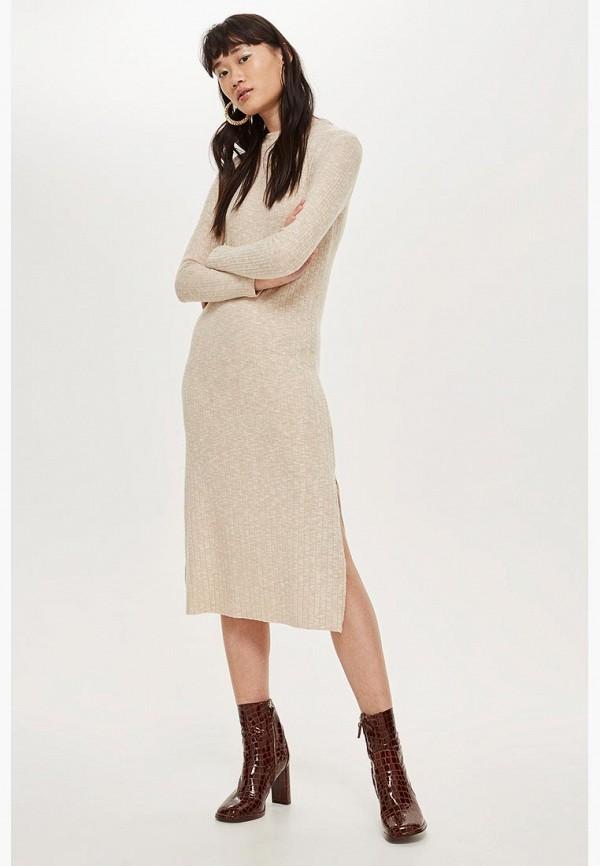 Купить Платье Topshop, to029ewdfhc0, бежевый, Осень-зима 2018/2019
